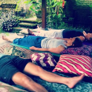 NIH guests enjoying some rest after a meditation session on retreat in Bali